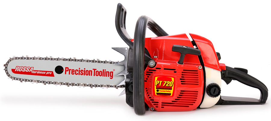 Professional chainsaw PT720. Engineered and designed in italy, assembled with original Precision Tooling spare parts.